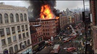 Una fuerte explosión incendia y derrumba un edificio en Nueva York