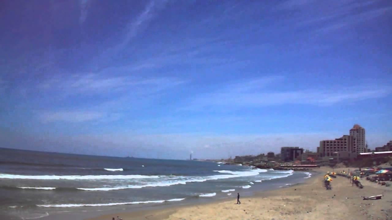 Tropical Island Beach Ambience Sound: شاطئ بحر غزة الميناء 46 Gaza Beach Port