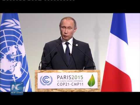 Vladimir Putin delivers speech at Paris climate conference