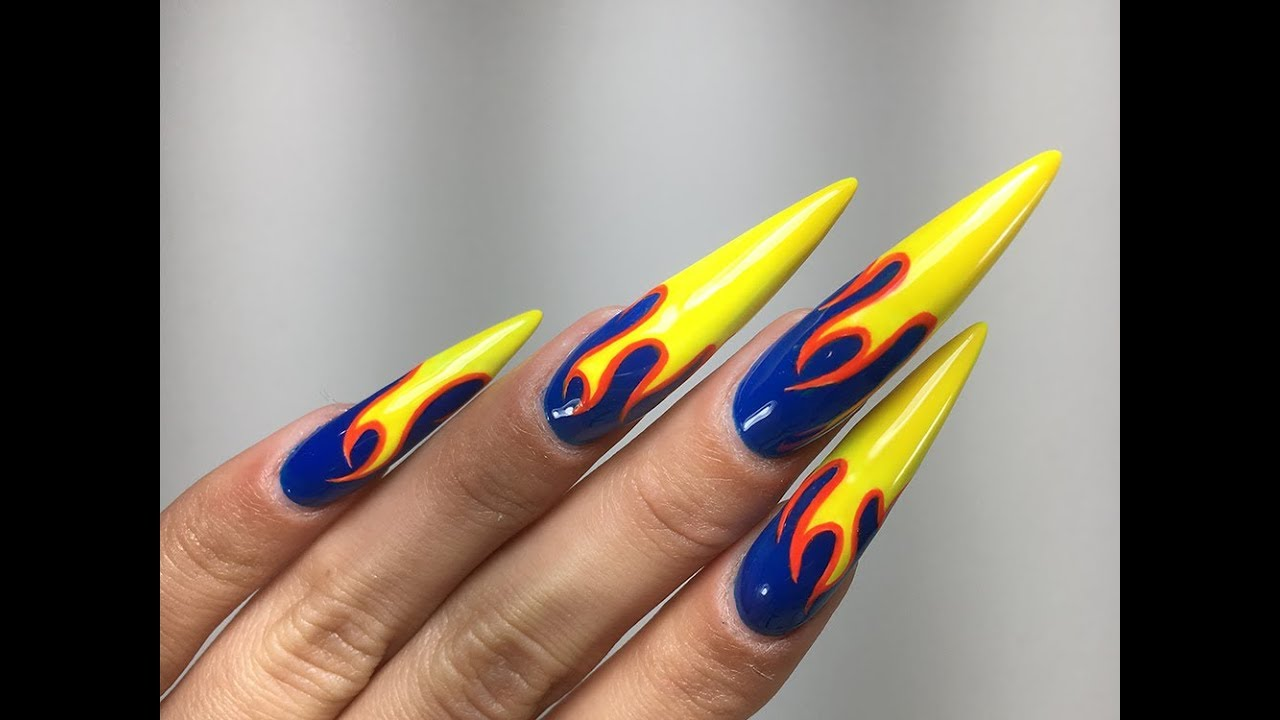 Blue Flame Gel Polish Nail Art Tutorial Learn To Create This Look Using Kokoist Usa Oct 17