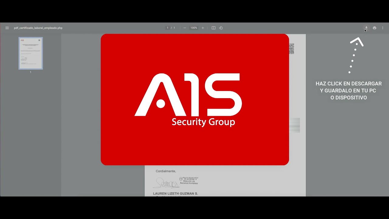 Certificado laboral A1S