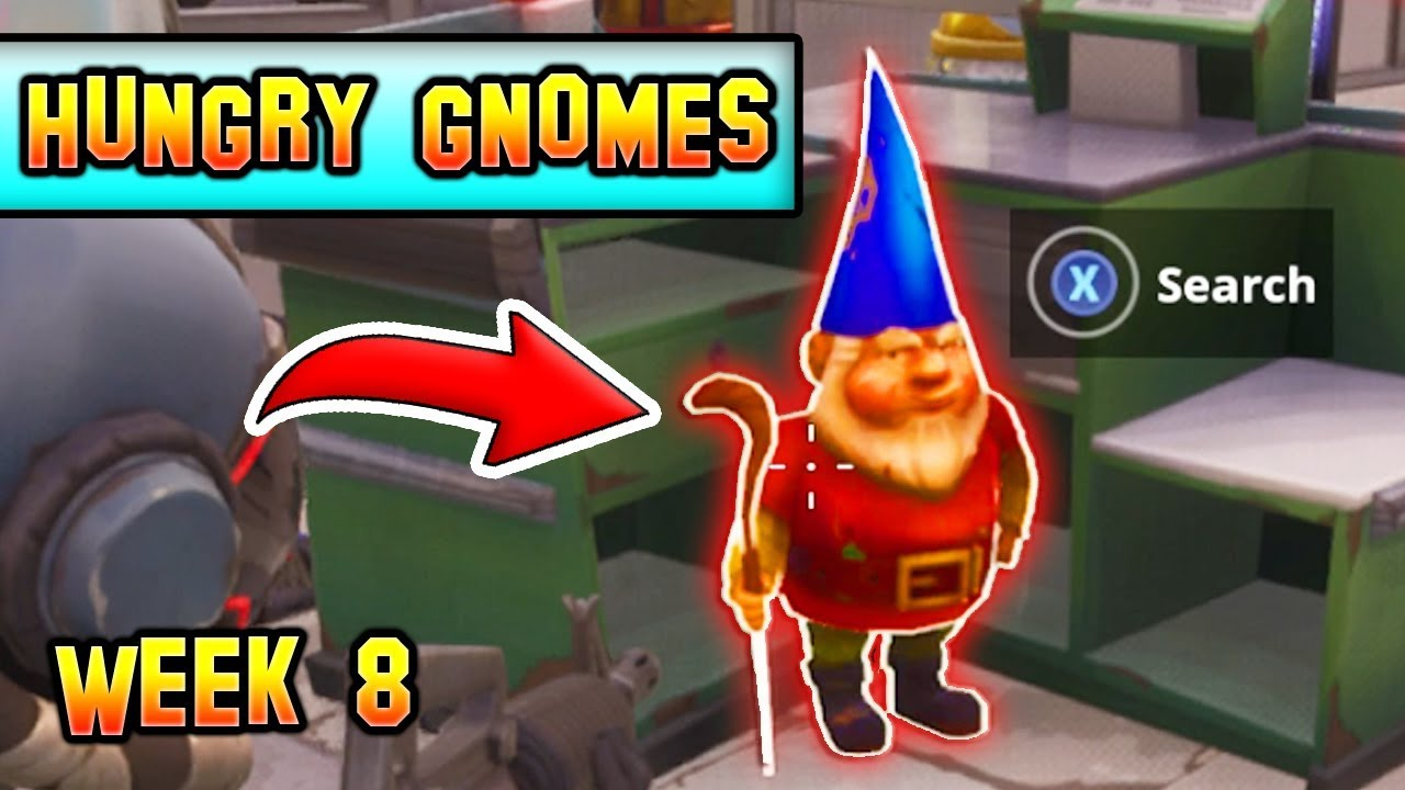 all 7 search hungry gnomes locations fortnite week 8 challenges 7 locations - fortnite 7 hungry gnomes