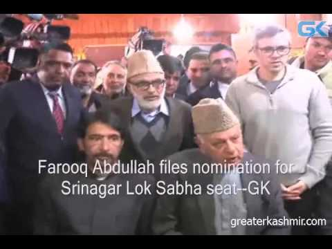 Farooq Abdullah files nomination for Srinagar Lok Sabha seat