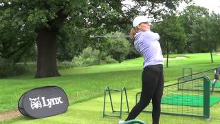 Sarah Jane Mee's first ever golf lesson using Lynx Ladies Crystal Clubs.