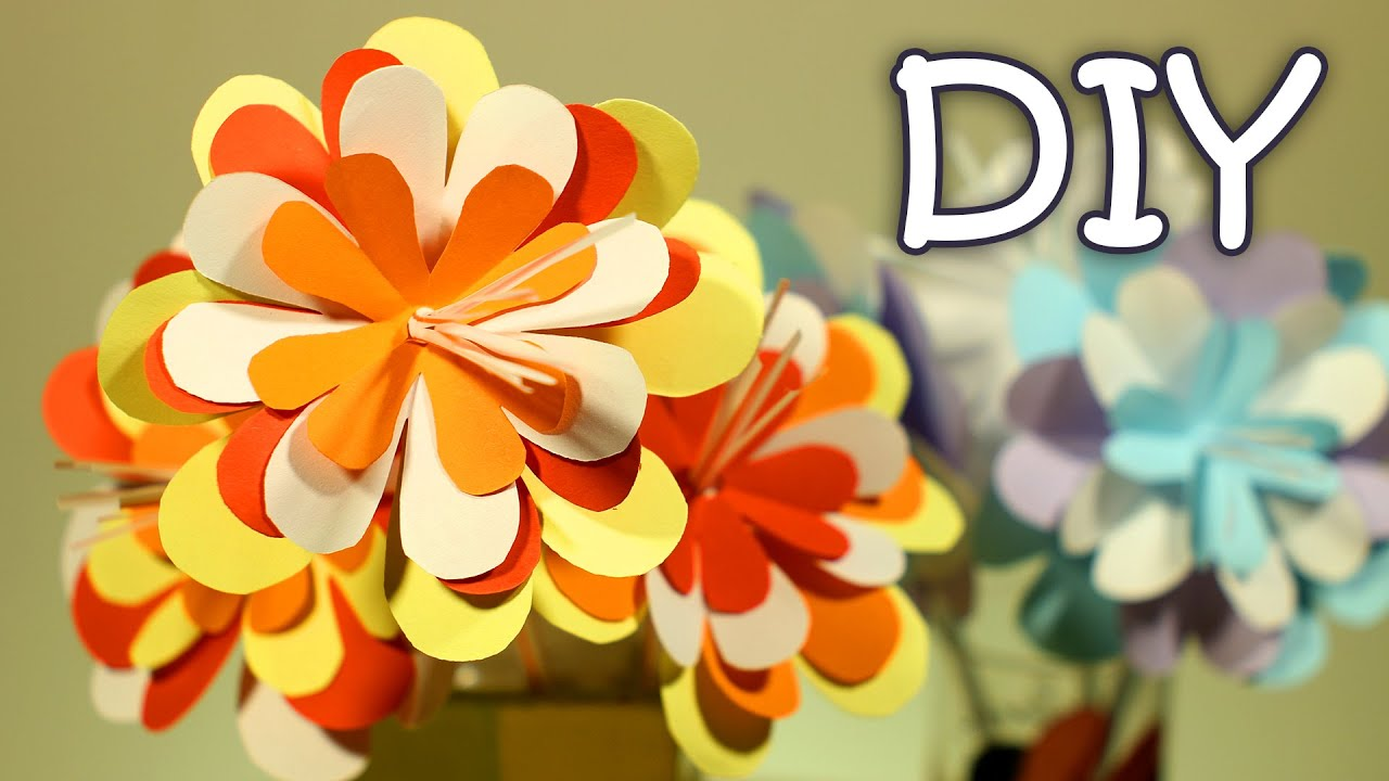 Diy paper flowers on a drinking straw how to make easy paper diy paper flowers on a drinking straw how to make easy paper flowers youtube mightylinksfo