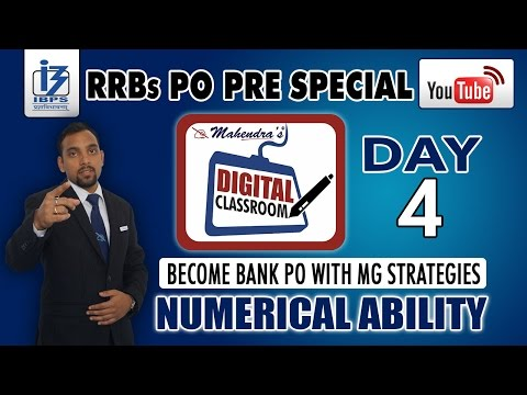 NUMERICAL ABILITY | IBPS RRBs PO PRE SPECIAL | DAY - 4 | #DIGITAL CLASSROOM