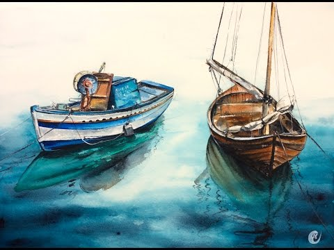 Watercolor Wooden Boats on a Water by Marina Painting Demonstration