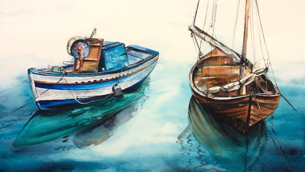 Watercolor Wooden Boats on a Water by Marina Painting ...