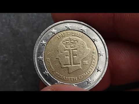 2 EURO COMMEMORATIVE 1937-2012 QUEEN ELISABETH COMPETITION#BELGIUM,SATISFYING VIDEO COIN.