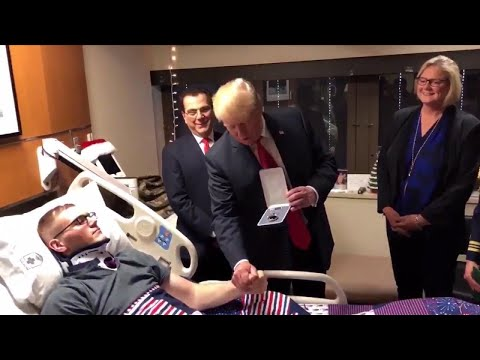 Wounded 25-Year-Old Airborne Engineer Given Purple Heart by President Trump