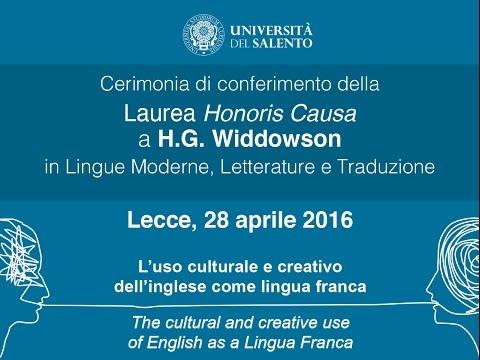 Cerimonia di conferimento della Laurea Honoris Causa a H. G. Widdowson