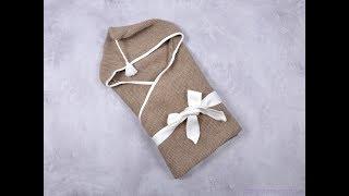 Вязанный конверт плед с кисточкой, коричневый