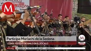 Participa Mariachi de la Sedena en festejo de AMLO