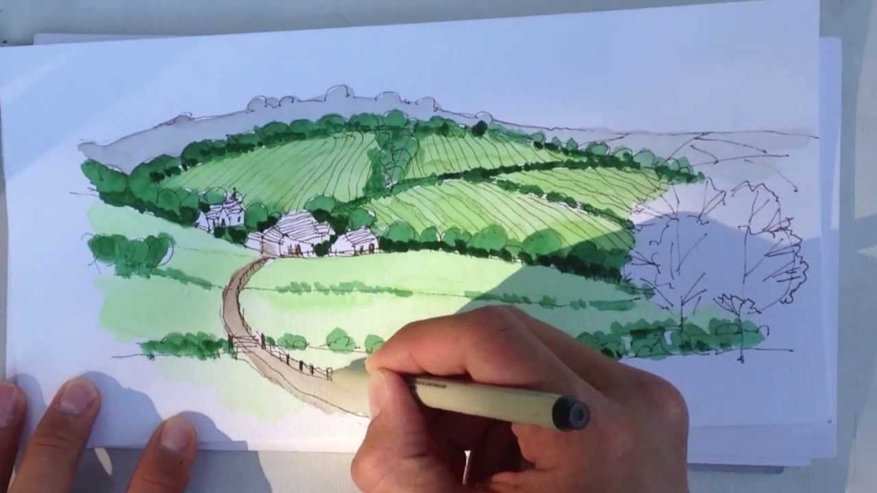 Linescapes Drawing Landscape Architecture  How to draw with Watercolors  YouTube