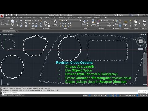 AutoCAD Revision Cloud Command Tutorial Complete   Arc Length Inside Out Settings Scale Line Width