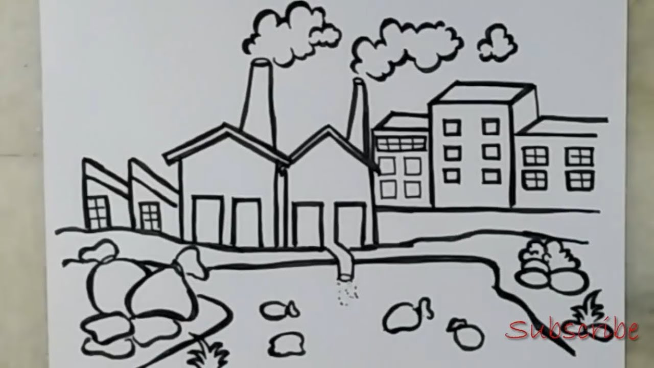 Drawing of air pollution and water pollution artistca