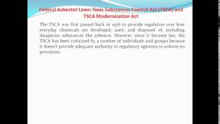 Federal Asbestos Laws: Toxic Substances Control Act (TSCA) and TSCA Modernization Act