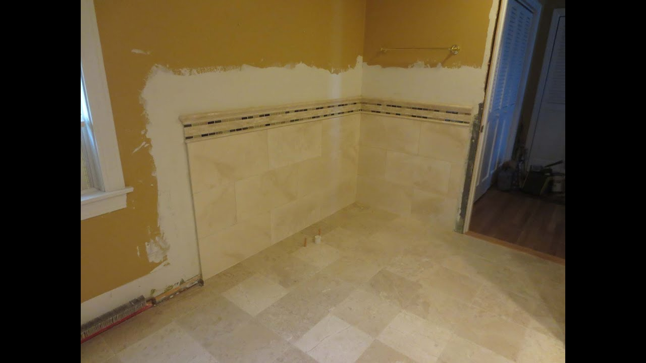 Travertine tile bathroom time lapse youtube Bathroom tile ideas menards