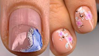 Немножечко отросли на пол ногтя Сакура на ногтях просто и быстро Дизайн ногтей