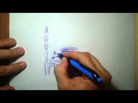 """Рисую мечеть """"Сердце Чечни"""" на скорую руку))"""
