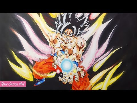 Drawing ultra instinct goku kamehameha new form youtube - Goku ultra instinct sketch ...