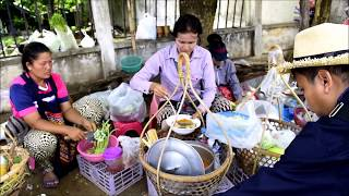 asian street food in chong mak laos market
