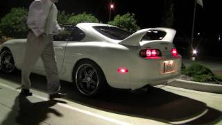 750 hp twin turbo toyota supra start up loud revs and acceleration