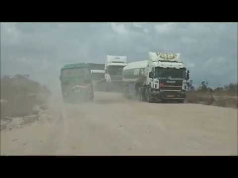 Driving through roads under construction in Tanzania