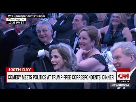 """The orange man behind the Muslim ban."" Comedian Hasan Minhaj at White house correspondents' dinner"