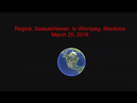 2016-03-25 Regina, SK  to Winnipeg, MB.  (574 km ride along)