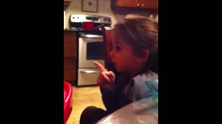4 years old girl gives a lecture about eating