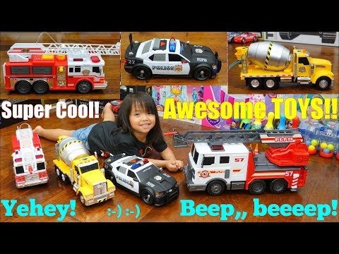 TOY CARS and TOY TRUCKS! Cement Mixer Truck, Fire Trucks, Police Cars, Garbage Truck and More
