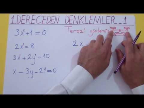 1. Dereceden Denklemler 1 Şenol Hoca Matematik