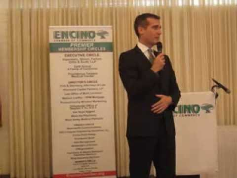Los Angeles Mayor Eric Garcetti speaks to the Encino Chamber of Commerce 2/18/14