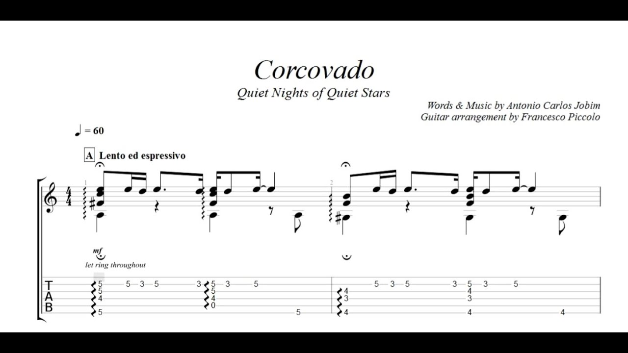 Fingerstyle Guitar Corcovado From Bossa Nova Collection Nr 10