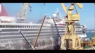 Carnival Triumph on fire during dry dock in Cadiz, Spain