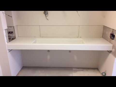 Encimera de baño Corian - YouTube