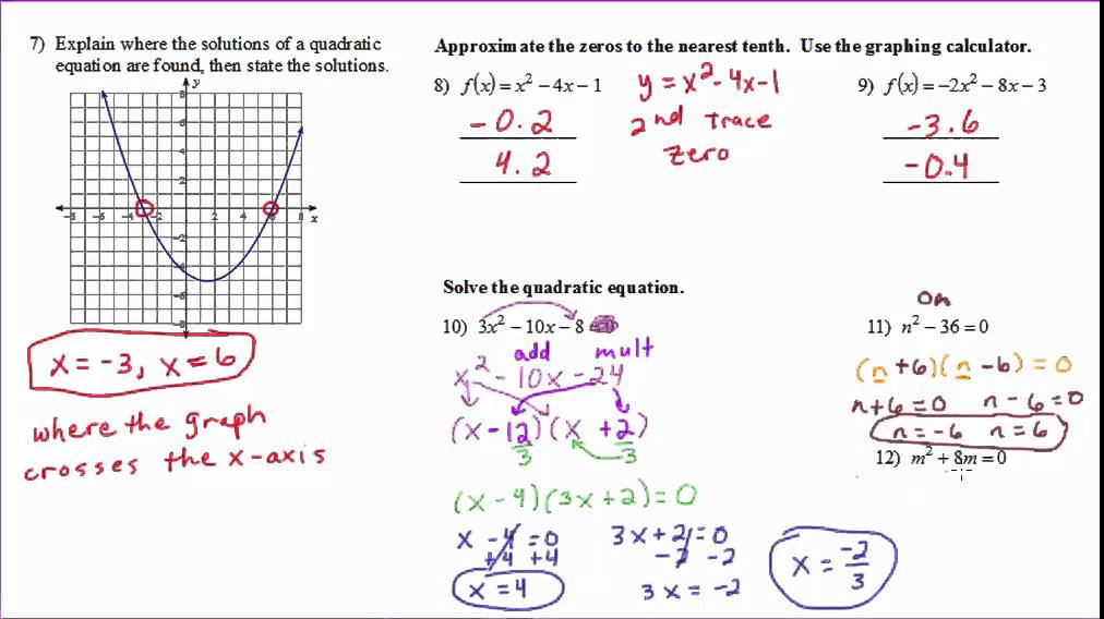 Algebra 2 - Chapter 5 Part 1 Review - YouTube
