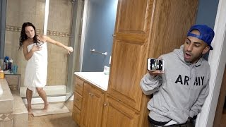 Repeat youtube video CAUGHT NAKED IN SHOWER PRANK!!
