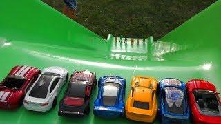 HOT WHEELS CARS SLIDE PLAY AND BUMP INTO DINOSAURUS