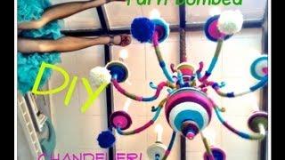 DIY Yarn Bombed Chandelier how to yarn wrap your decor!