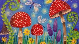 Mushrooms Fairy Garden Beginner Acrylic Tutorial LIVE Painting Step by Step #lovesummerart2017