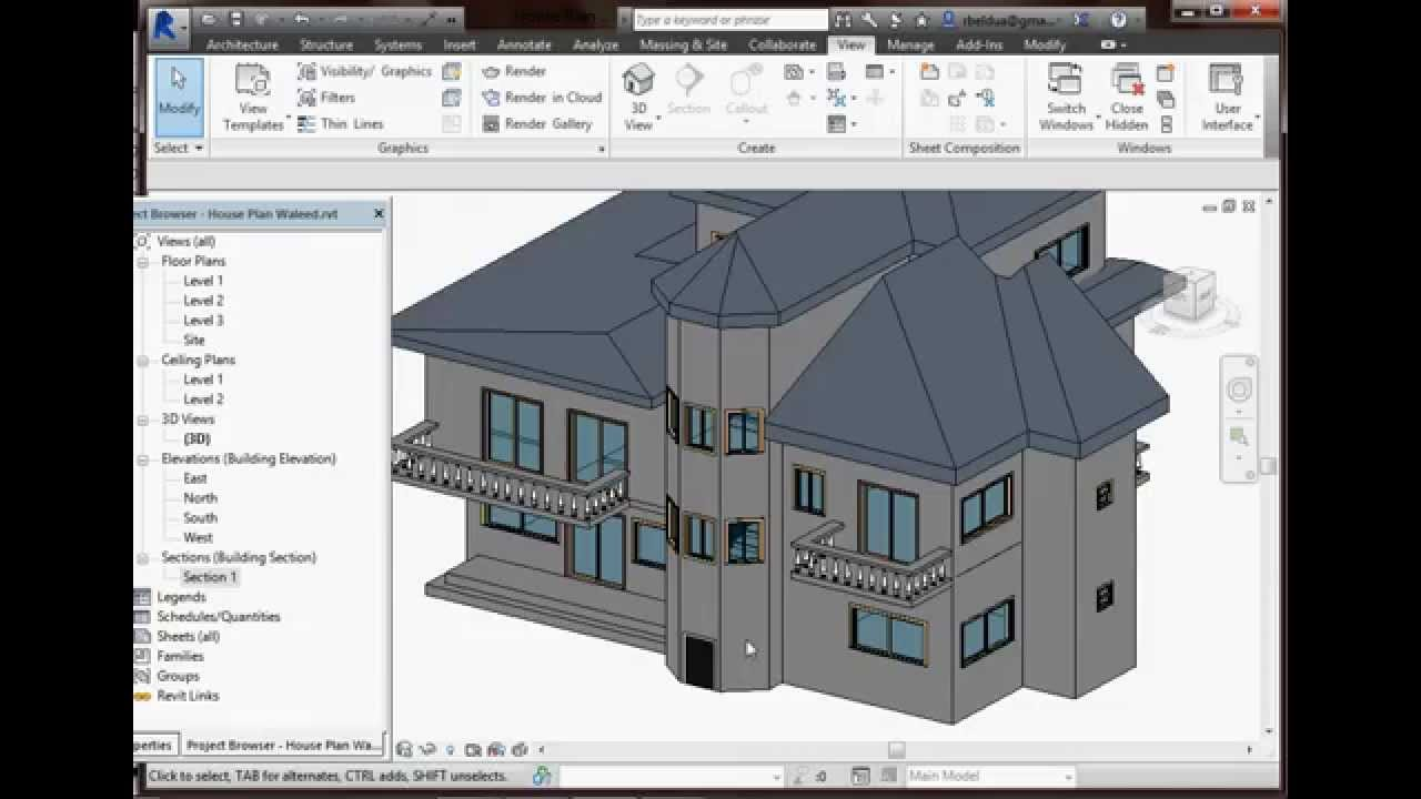 Autodesk Revit 2015 (House Plan) - YouTube