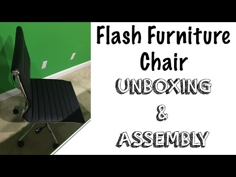Flash Furniture Mid-Back Armless Ribbed Upholstered Leather Conference Chair Unboxing & Assembly