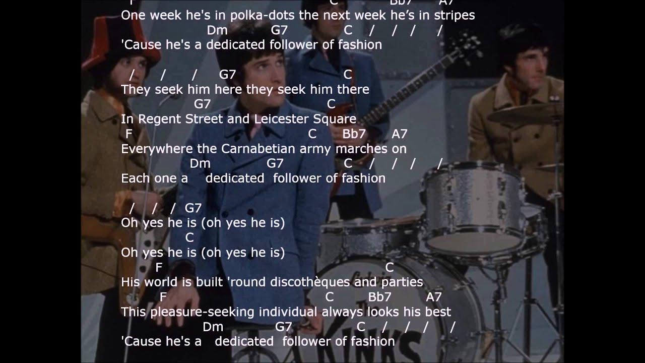Dedicated follower of fashion chords 43