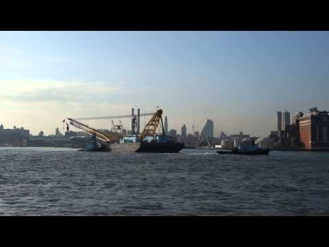 Tugs with a Crane Barge on the East River