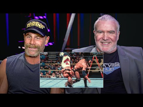 Shawn Michaels and Razor Ramon watch their historic WrestleMania X Ladde...