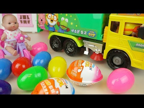 Baby doll surprise eggs Kinder joy and truck car toys Baby Doli play
