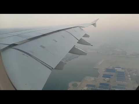 Emirates Airbus A380 landing at Dubai Airport