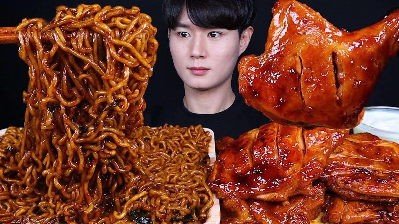 짜파구리 붐바스틱 치킨 먹방ASMR MUKBANG SPICY BLACK BEAN NOODLES & SPICY BBQ CHICKEN チキン チャジャンラーメン eating so